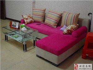 玫红色沙发茶几组合