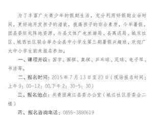 麻江�F�h委2015年暑期�d趣班招生�章:免�M�_�O�子琴、��法等7�T�n程