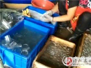 震惊!消毒餐具厂女工用黑抹布擦玻璃杯(图)