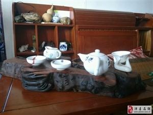销售枣木根雕作品 (一)笔筒与茶盘