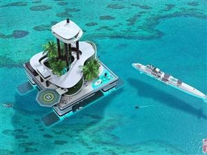 奥地利设计师打造豪华移动岛屿 自带港口和花园