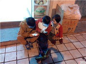 大冷天坐在路边玩手机的小朋友