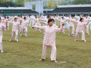 南华大学的教职工正在进行太极拳比赛