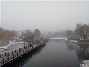皑皑白雪映公园