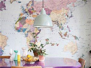 8款创意地图背景墙像这样挂墙上才好看!