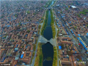 航拍大运河临清段原始形态河道春色