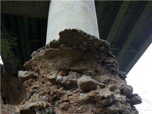 胆战心惊,武汉高速金寨船冲大桥的桥墩,好吓人!
