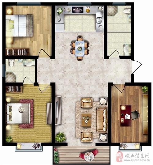 132.67㎡三室两厅两卫