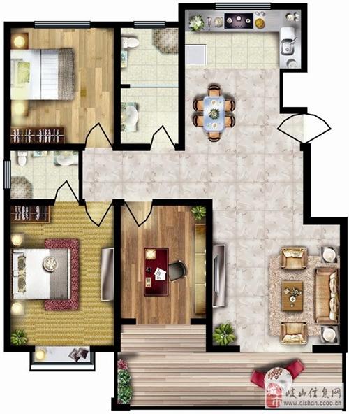 143.59㎡三室两厅两卫