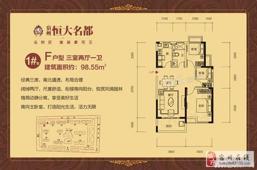 1#东F-98.55m2-3室2厅