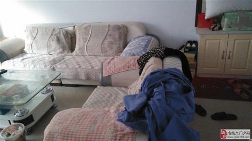 出售85成新皮布组合沙发