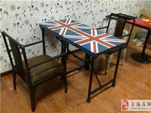 欧式实木餐桌简约办公书桌铁艺家具定制酒吧餐厅咖啡厅