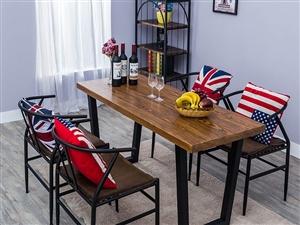 出售奶茶甜品店桌椅休闲咖啡厅桌子铁艺实木餐厅桌椅
