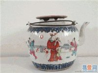 招远大清同治年青花粉彩细瓷茶壶出售